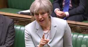 Theresa May  responding to an MP  following her statement on Brexit in the House of Commons. Photograph: Getty Images