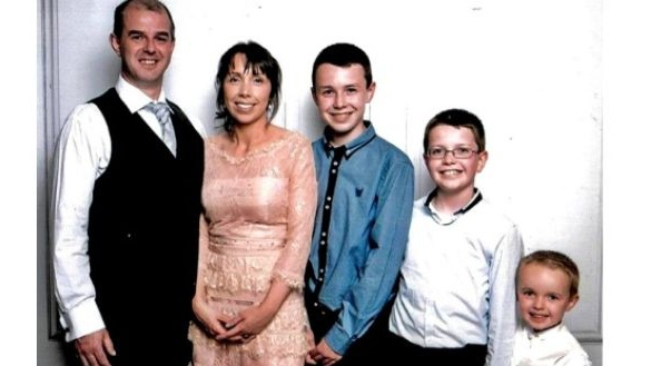 Alan Hawe with his wife Clodagh and their three children, Liam (14), Niall (11) and Ryan (6).