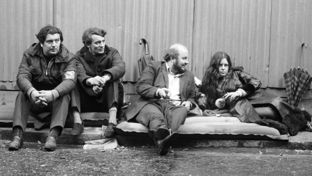 John Hume with Bernadette Devlin, Austin Currie and Paddy O'Hanlon on a two-day sit-in hunger strike outside 10 Downing Street in October 1971 to press their demand for a public enquiry into the treatment of detainees in Northern Ireland. Photograph: Roger Jackson/ Central Press/ Getty Images