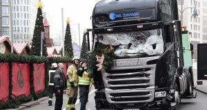 The truck that crashed into a Christmas market in Berlin on December 19th, 2016.  Twelve people were killed in the  terror attack, with the German government since criticised for how it has treated  relatives. Photograph:  Tobias Schwarz/AFP/Getty Images