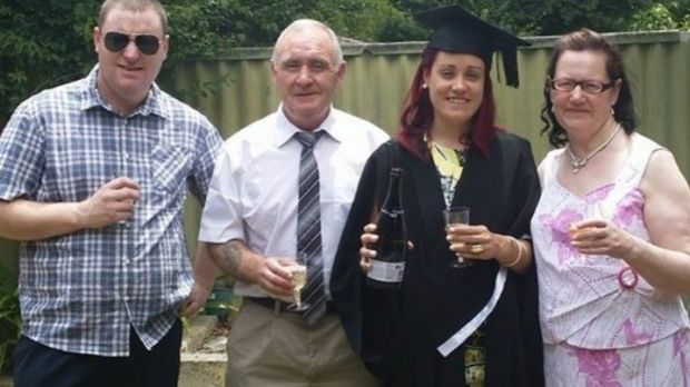 Jessica Clinton celebrating her graduation with her family in Perth. 'I don't want to come home and be unable to work as a nurse.'