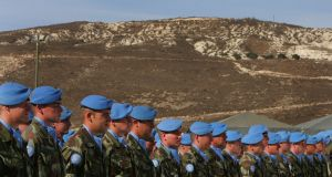 Irish Defence Forces soldiers pictured  in southern Lebanon in 2007. The government considered ending Ireland's involvmenent in the Unifil mission 20 years earlier after  a corporal was killed in January 1987.  Photograph: Kate Geraghty