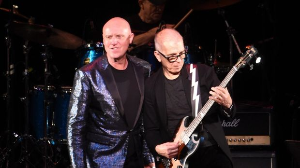 Glenn Gregory and Tony Visconti of Holy Holy perform onstage at The Music Of David Bowie at Radio City Music Hall, April 2016, in New York. Photograph: Jamie McCarthy/Getty Images