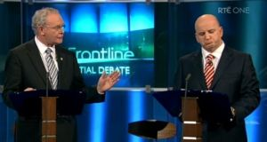 Sean Gallagher reacts to Sinn Féin's Martin McGuinness during 'The Frontline' debate ahead of the 2011 presidential election. Photograph: RTÉ