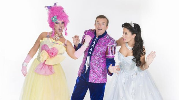 Rob Murphy as Buffy, Alan Hughes as Sammy Sausages and Keila Ana Whelan as princess Aurora in Sleeping Beauty at the Tivoli