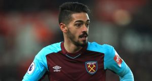 West Ham midfielder Manuel Lanzini has been banned for two games for successful deception of a match official following the award of a penalty in Saturday's Premier League game at Stoke. Photo: Mike Egerton/PA Wire