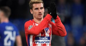 Atletico Madrid forward Antoine Griezmann has a release clause in his contract set at €100 million but Barcelona have been linked with a January approach for the forward signed from Real Sociedad in 2014. Photograph: Toby Melville/Reuters