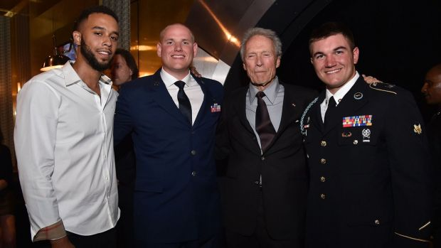 Clint Eastwood with Anthony Sadler, Spencer Stone and Alek Skarlatos, stars of 'The 15:17 To Paris'