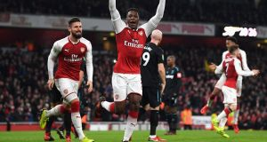 Danny Welbeck of Arsenal celebrates as he scores their first goal in the Carabao Cup win over West Ham. Photo: Shaun Botterill/Getty Images