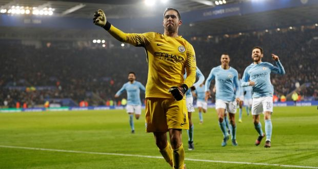 c3ba8cffc4a Manchester City s Claudio Bravo celebrates winning the penalty shootout in  their Carabao Cup clash with Leciester