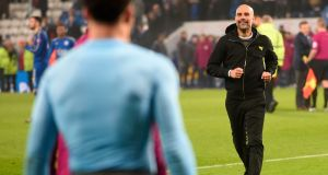 Manchester City's Catalan manager Pep Guardiola celebrates on the pitch after his team's penalty shoot out win at King Power Stadium in Leicester. Photograph: Getty Images