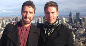Hugo O'Doherty (right) and his brother Bart at the top of Mont Royal with downtown Montreal in the background.