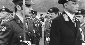 Anatoli Kaplin, right, the first ambassador of the USSR, inspects a guard of honour at Áras an Uachtaráin in 1974. Photograph: Eddie Kelly
