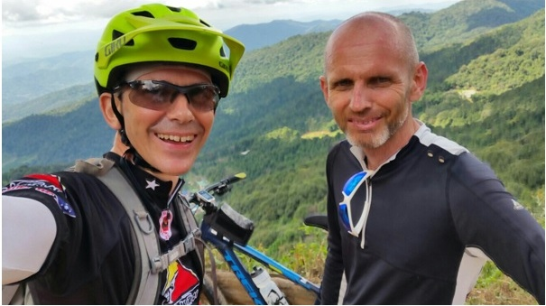 "Martin Browne (right) with fellow Tour de Timor participant, Steve Malloch, in Chiang Mai, Thailand. ""Ireland is unlikely to afford the same mountain biking opportunities as Timor or some of the other countries visited."""