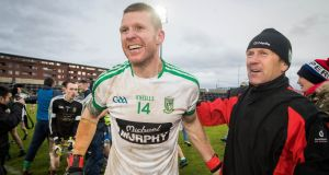 Moorefield veteran Ronan Sweeney celebrates after his club's sensational comeback against St Loman's in the Leinster club football final at O'Moore Park, Portlaoise. Photograph Ryan Byrne/Inpho