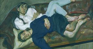 Lucian Freud, Bella and Esther, 1988, oil on canvas, from the artist's private collection, can be seen as part of The Freud Project at the Irish Museum of Modern Art.