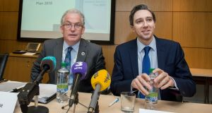 Tony O'Brien, Director General of the HSE with  Minister for Health Simon Harris  at the announcement of details of the HSE National Service Plan 2018. Photograph: Brenda Fitzsimons