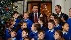 Taoiseach Leo Varadkar and Joe McHugh Minister of State for the Irish Language, with students from Gaelscoil Cois Feabhail Choir, Movill, Donegal at Government Buildings for the launch of Bliain na Gaeilge 2018. Photograph: Alan Betson/The Irish Times