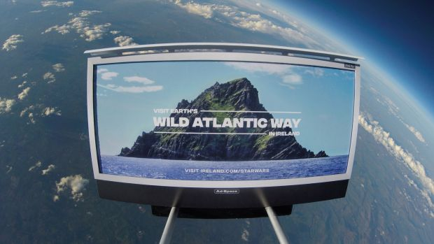 Fáilte Ireland and Tourism Ireland have adopted a Star Wars theme and imagery from Skellig Michael and other west coast film locations to advertise the Wild Atlantic Way.