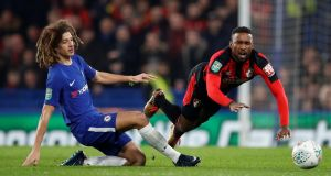 Chelsea's Ethan Ampadu slides in to challenge  Bournemouth's Jermain Defoe during the  Carabao Cup quarter-final at Stamford Bridge. Photograph: Eddie Keogh/Reuters