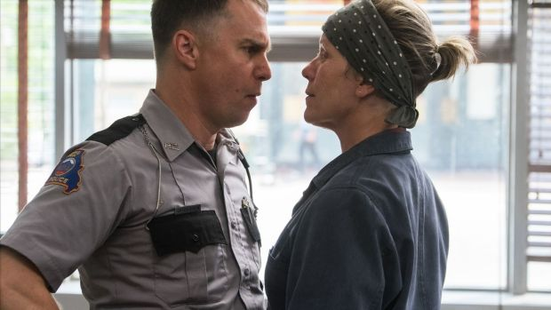 Sam Rockwell and Frances McDormand face off in 'Three Billboards Outside Ebbing, Missouri'. Photograph: 20th Century Fox
