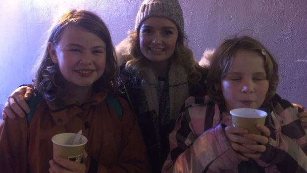 Two new pantomime fans, with Ciara Lyons from the Gaiety theatre's Rapunzel