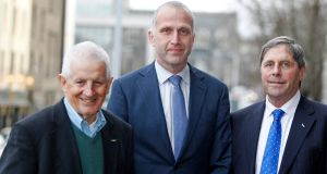 L-R: Ted Murphy,  Evert Van Zwol and John Goss, founder members of the Ryanair Pilots Group (RPG)  Photograph: Courtpix