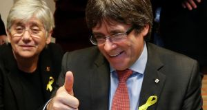 Carles Puigdemont,  dismissed president of Catalonia, reacts while viewing the results in Catalonia's regional election in Brussels, Belgium. Photograph: Francois Lenoir/Reuters
