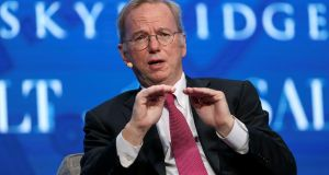 Eric Schmidt at the SALT conference in Las Vegas, US, in May. Photograph: Richard Brian/Reuters