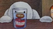 We used our mother's false teeth for the snowman's mouth