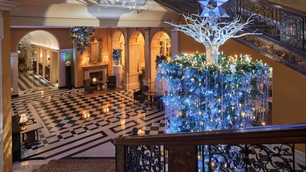The Christmas tree in Claridge's, London, designed by Karl Lagerfeld, head creative director of the fashion house Chanel.