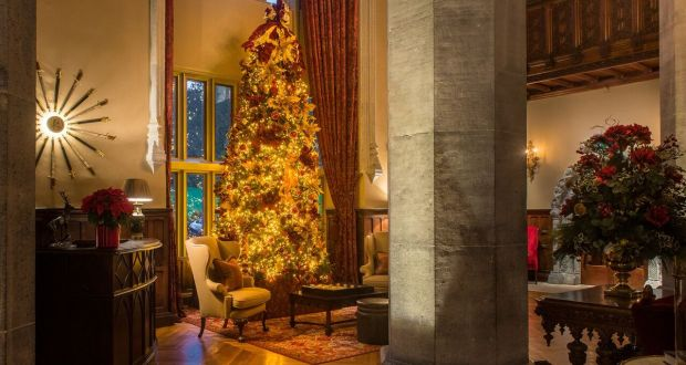 a christmas tree in the great hall at adare manor in adare co limerick