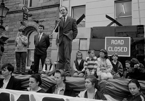 "Martin McGuinness at an action rally.  All photographs copyright Tony O'Shea - ""Border Roads""1990 -1994 is available from caferoyalbooks.com"