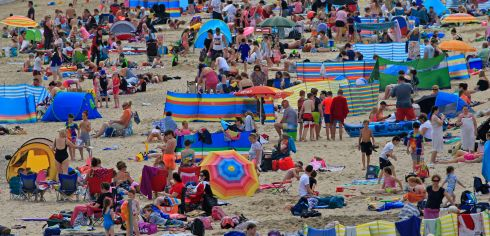 Crowds enjoying perfect summer weather in July at Brittas Bay, Wicklow.  Photograph Nick Bradshaw / The Irish Times