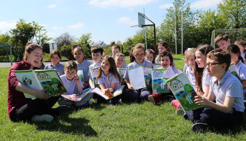 The children of second class at Crubany National School, Cavan get a rare treat as their teacher Ms Harton treated them to an outside class on a warm Tuesday afternoon in May.  Photo: Lorraine Teevan