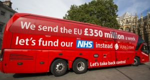 Post-truth drove into our lives in the shape of the Brexit bus and its claim that the UK could save £350 million a week through cutting contributions to the EU budget after Brexit. Photograph: Jack Taylor/Getty Images