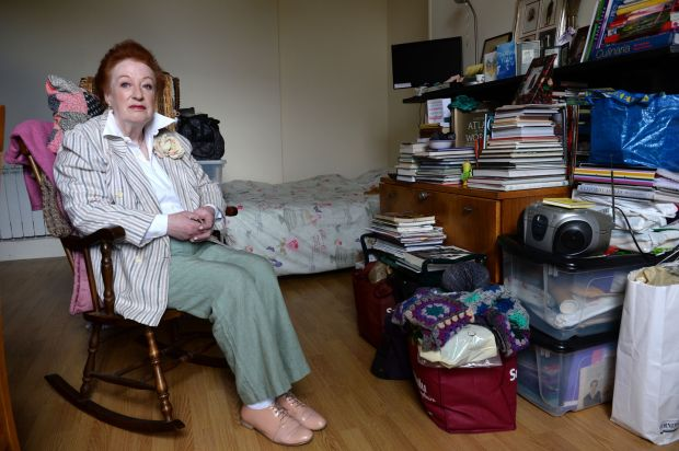 Mae Robbins surrounded by her possessions in her home in Phibsborough, Dublin in May while facing eviction as the landlord is selling the property. 