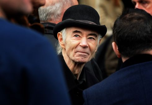 B P Fallon at the funeral of musician and former Pogues manager Frank Murray, at Mount Argus, Dublin in January.   Photograph: Eric Luke / The Irish Times