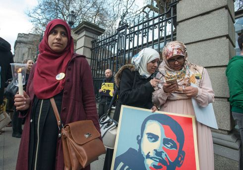 Ibrahim's three sisters, from left: Omaima, Somaia and Fatima Halawa at a candlelight vigil, organised by Uplift, to highlight government inaction regarding the continuing imprisonment without trial of Ibrahim Halawa in Egypt, outside Leinster House in April.  Photograph: Dave Meehan/The Irish Times