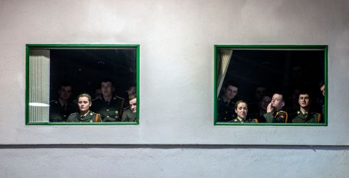 Cadets watch the 92 Cadet Class after a commissioning ceremony at the Military College, Curragh Camp, Co.Kildare in January.  Photograph: Brenda Fitzsimons / The Irish Times