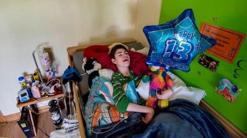 Brendan Maginnis who just turned 13 and is profoundly disabled and in desperate need of social housing, photographed  in October.  Photograph: Brenda Fitzsimons / The Irish Times