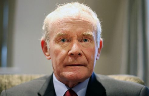 Martin McGuinness during an interview with the Press Association at the Bishop's Gate Hotel in Londonderry, when the former Deputy First Minister announced that he was quitting elected politics to concentrate on recovering from serious health issues.  Photograph: Niall Carson