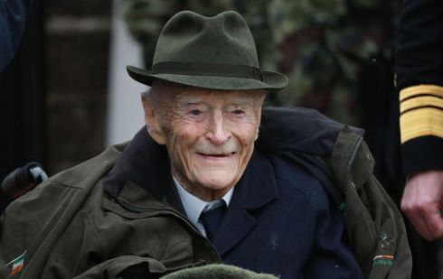 Former Taoiseach Mr. Liam Cosgrave at the naming ceremony of the recently refurbished Army Equitation School Arena as the W.T. Cosgrave Arena in McKee Barracks, Dublin.  The event was one of the last public events attended by Mr Cosgrave before his death. Photograph Nick Bradshaw / The Irish Times