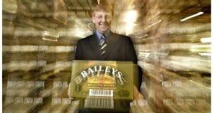 Frank Fenn  with the six millionth box of Baileys Irish Cream. Photograph: Alan Betson