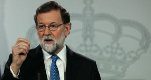 "Spain's prime minister Mariano Rajoy: ""I will not accept that anyone puts himself above the Spanish constitution and law,"" Mr Rajoy said. Photograph: Sergio Perez/Reuters"
