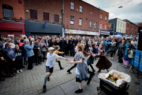 The Helen Jordan Stage School pictured performing at the Moore Street Party in October. Photograph: Tom Honan / The Irish Times