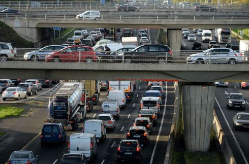 The daily commute -  traffic at every level on the M50 in September. Photograph: Alan Betson / The Irish Times