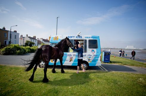 Bruce the horse and his owner Johnny Dennihan wait for an ice cream at the beach in Dublin.  Photograph: Tom Honan