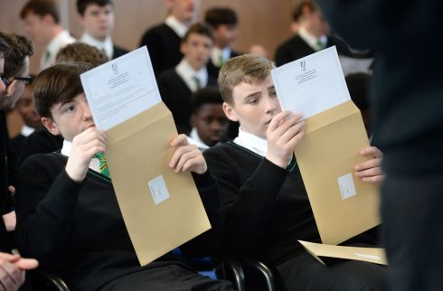 Adam Dowling and Lee Cassin  receiving their Junior Cert results at St. Kevins College, Ballygall Road, Finglas, Dublin in September. Photograph: Dara Mac Donaill / The Irish Times