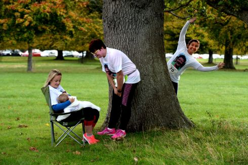 Rebecca Neligan, Cavan feeding her baby  Fiadh  before the start of the Marie Keating Foundation  Pigsback charity run at the Phoenix Park in October - with friends Joan Crowe and Mary Ferncombe.  Photograph: Cyril Byrne / The Irish Times